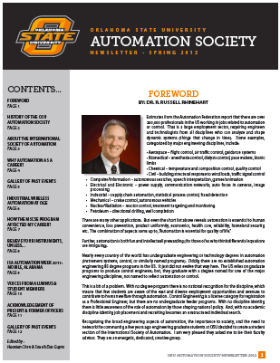 Oklahoma State University Automation Society Newsletter - Spring 2012