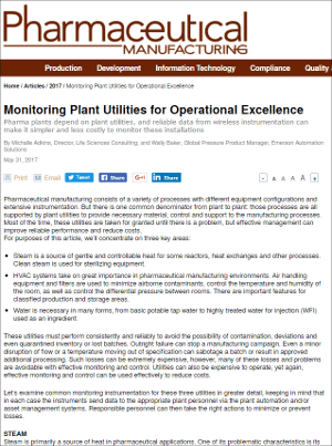 Pharmaceutical Manufacturing: Monitoring Plant Utilities for Operational Excellence