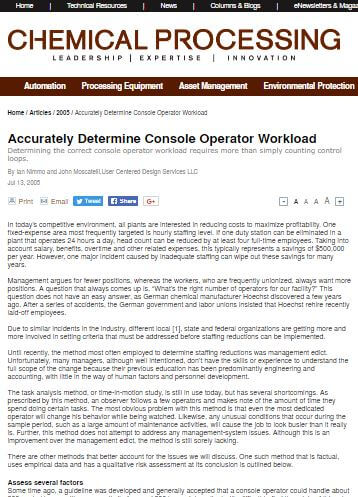 Chemical Processing: Accurately Determine Console Operator Workload