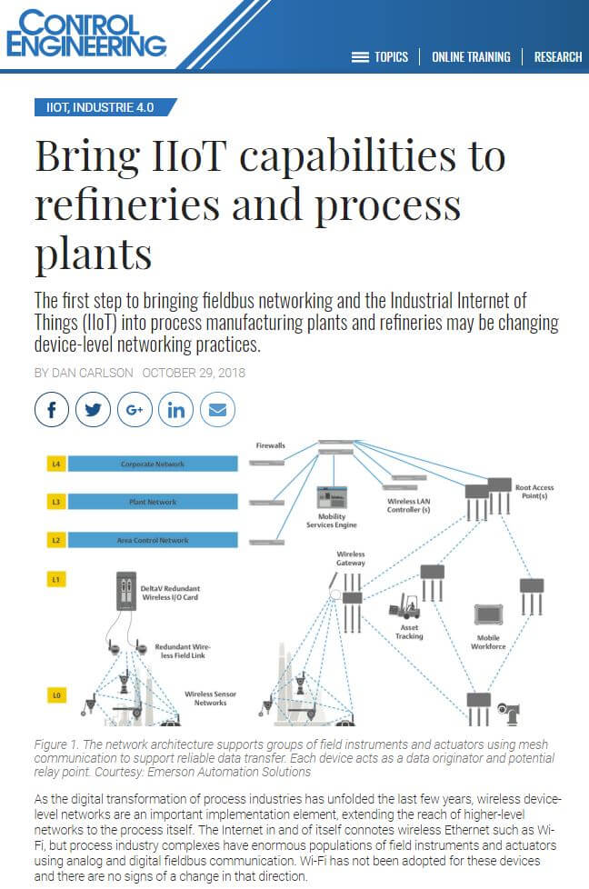 Control Engineering: Bring IIoT capabilities to refineries and process plants
