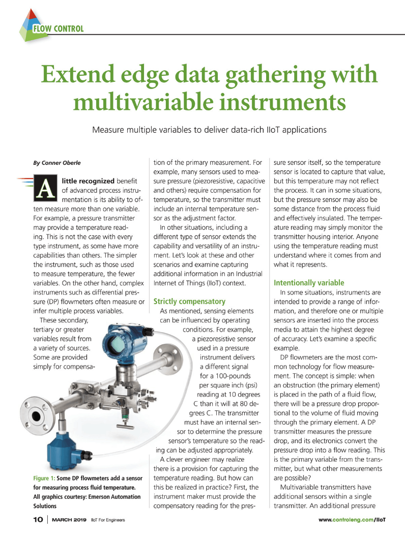 Control Engineering IIoT for Engineers supplement: Extend edge data gathering with multivariable instruments