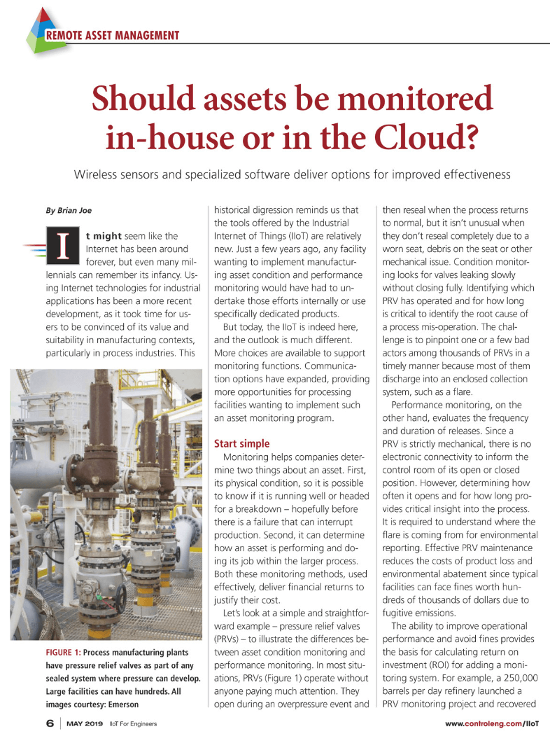 Control Engineering: Should assets be monitored in-house or in the cloud?