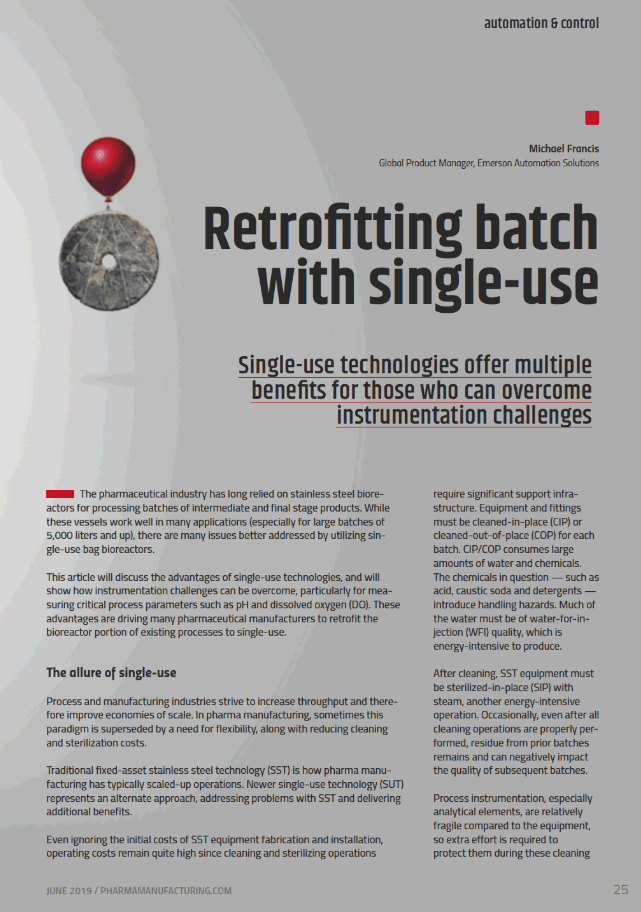 Pharmaceutical Manufacturing: Retrofitting batch with single-use