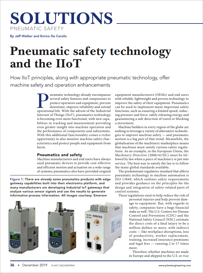 Plant Engineering: Pneumatic safety technology and the IIoT